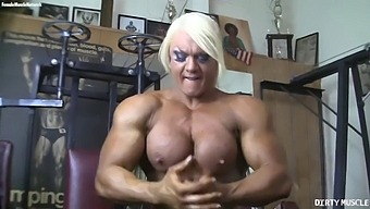Powerful Naked Bodybuilder Shows Her Big Clit In The Gym