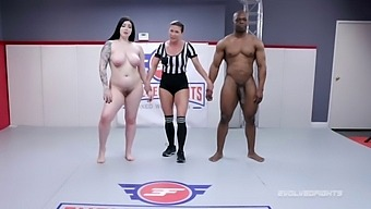 Mixed Wrestling Fight With Amilia Onyx Battling Will Tile And Sucking That Big Black Dick