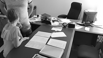 The Boss Fucks His Tiny Secretary On The Office Table And Films It On Hidden Camera