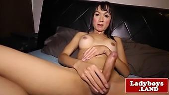 Busty Ladyboy Tugging Hard Cock Before Cum