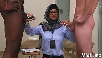 Arab Teen Bitch Endures Three-Some