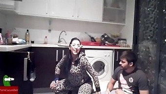 Crazy Glasses, Leopard, Pussy, Cock And Cum. Homemade Voyeur Taped My Amateur Gf
