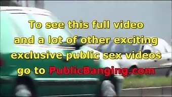 A Big Natural Breasted Brunette In Public Street Bus Stop Threesome Orgy Gang Bang With 2 Hung Guys With Big Dicks Fucking Her With A Blowjob And Vaginal Pussy Sex Action In Front Of All The Car, Bus, And Truck Drivers And People Walking On The Stree