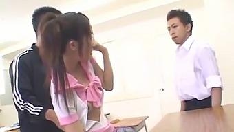Koyuki Matsumoto In Pink Uniform Sucks Cocks