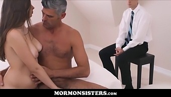 Cute Mormon Sister Teen Elektra Rose Fucked To Orgasm In Front Of Her Husband By Church President Oaks For First Seeding