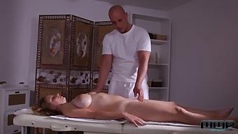 Busty Blonde Fucked On Massage