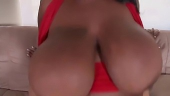Bbw Ebony Mature  With Huge Boobs Takes A Young White Cock