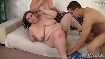 2 Plumpers Share A Young Guy's Cock