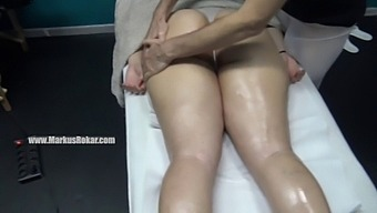 At Massage Center Grabbing His Dick As She Gets Real Fingering Pussy Orgasm By Her Masseur